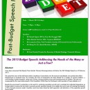 The 2013 Budget Speech: Addressing the Needs of the Many or Just a Few?